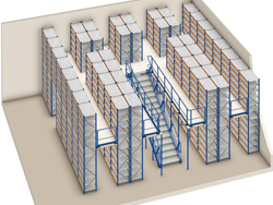 Stockage densifié avec mezzanines et rayonnages industriels