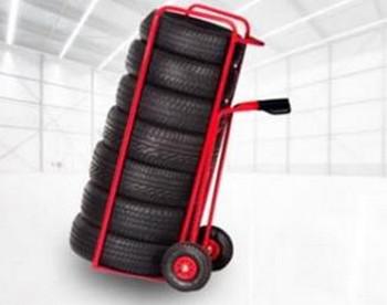 Diables et chariots porte-pneus pour garages, concessionnaires